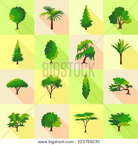 Tree type forms icons set. Flat illustration of 16 tree type forms icons set vector icons for web