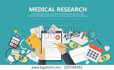 Medical research banner. Medical workplace. Flat vector illustration
