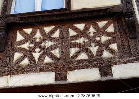 Detail of fachwerkhaus, or timber framing, in Alsace, France