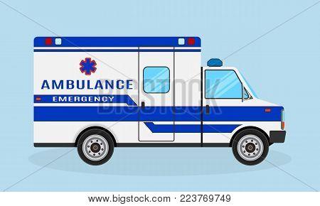 Ambulance car side view. Emergency medical service vehicle. Hospital transport. Medicine transportation van. Flat style vector illustration.