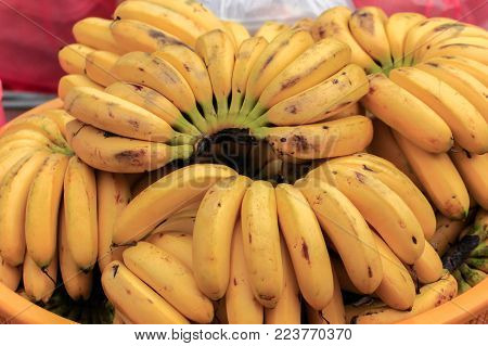 Bunch of yellow bananas in the basket ready to sale in market.Bananas are a known cure for heartburn.They help balance your stomach's pH and enhance the protective mucus layer, relieving pain.
