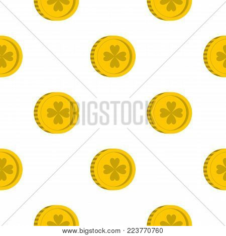 Golden coin with clover sign pattern seamless background in flat style repeat vector illustration