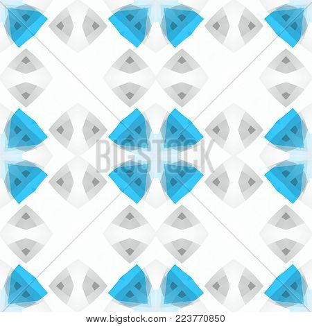 Light blue white grey abstract texture. Simple background illustration. Seamless tile. Textile print pattern. Home decor fabric design sample. Tileable motif for pillows, cushions, tablecloths, drapes