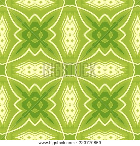 Green abstract texture. Seamless tile. Background illustration with crossing lines. Textile print pattern. Home decor fabric design sample. Tileable motif for pillows, cushions, tablecloths, drapes