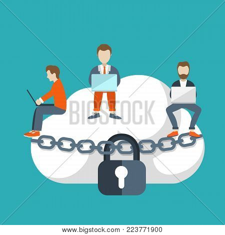 Cloud storage concept. Illustration of young people using laptop for downloading app from cloud storage. Flat design of people sitting on the big cloud.
