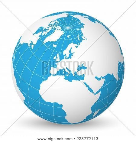 Earth globe with green world map and blue seas and oceans focused on Europe. With thin white meridians and parallels. 3D vector illustration.