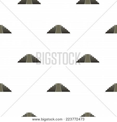 El Castillo Mayan pyramid at Chichen Itza pattern seamless background in flat style repeat vector illustration