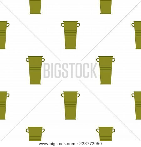 Green garbage tank with handles pattern seamless background in flat style repeat vector illustration