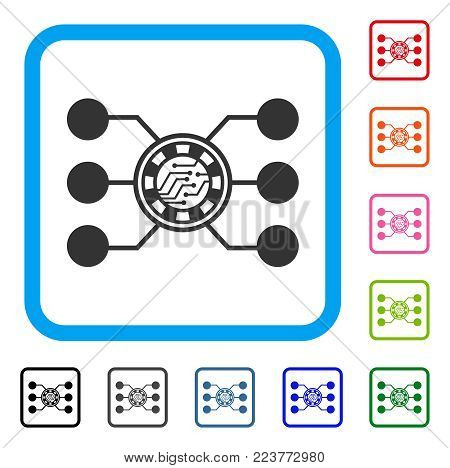 Casino Chip Circuit icon. Flat grey pictogram symbol in a blue rounded frame. Black, grey, green, blue, red, pink color versions of casino chip circuit vector. Designed for web and application UI.