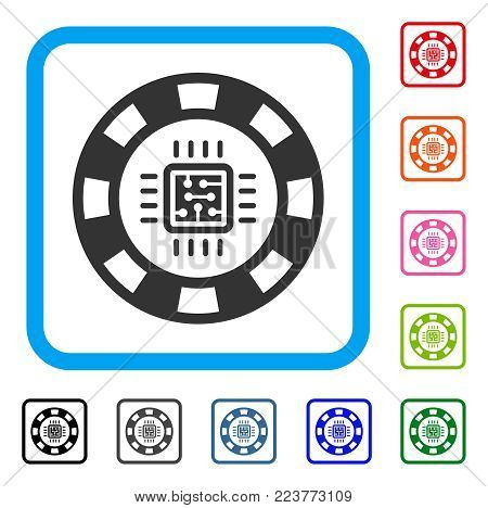 Cpu Casino Chip icon. Flat grey pictogram symbol inside a blue rounded square. Black, grey, green, blue, red, pink color additional versions of cpu casino chip vector.