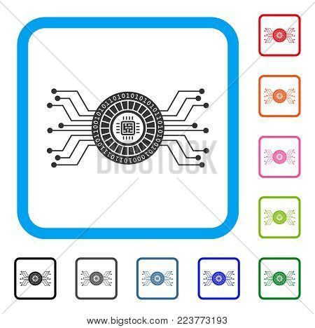 Digital Casino Circuit icon. Flat gray pictogram symbol in a blue rounded rectangular frame. Black, grey, green, blue, red, orange color versions of digital casino circuit vector.