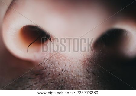 Nose hair men close up. A man plucks a hair from his nose, macro.