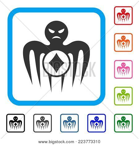 Gambling Spectre Monster icon. Flat gray iconic symbol in a blue rounded frame. Black, grey, green, blue, red, orange color variants of gambling spectre monster vector.