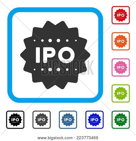 Ipo Token icon. Flat gray pictogram symbol in a blue rounded rectangle. Black, grey, green, blue, red, pink color variants of ipo token vector. Designed for web and app user interface.