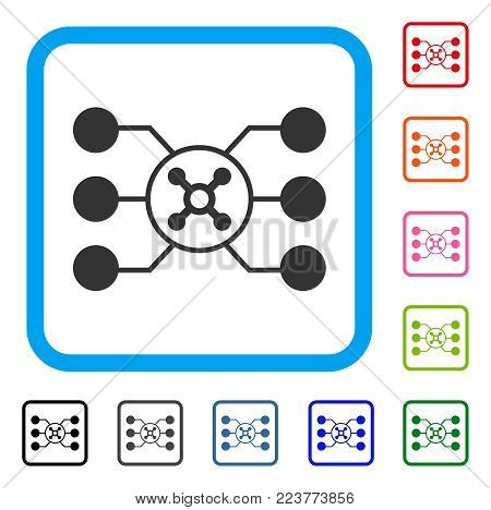 Roulette Circuit icon. Flat gray pictogram symbol in a blue rounded frame. Black, gray, green, blue, red, pink color additional versions of roulette circuit vector. Designed for web and app UI.
