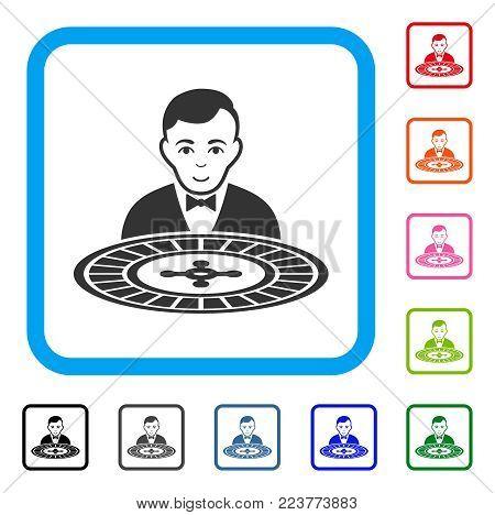 Roulette Dealer icon. Flat gray pictogram symbol inside a blue rounded square. Black, gray, green, blue, red, orange color versions of roulette dealer vector. Designed for web and app UI.