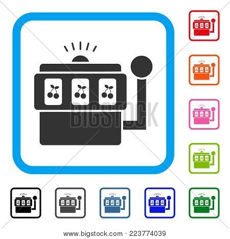 Slot Machine icon. Flat gray pictogram symbol in a blue rounded square. Black, grey, green, blue, red, orange color versions of slot machine vector. Designed for web and application user interface.