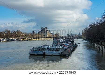 Paris, The Banks Of The Seine Are Flooded, The Seine Is 6 Meters Above The Level.