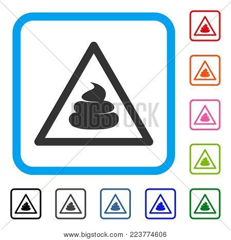 Shit Warning icon. Flat gray iconic symbol inside a blue rounded square. Black, gray, green, blue, red, orange color versions of shit warning vector. Designed for web and software interfaces.