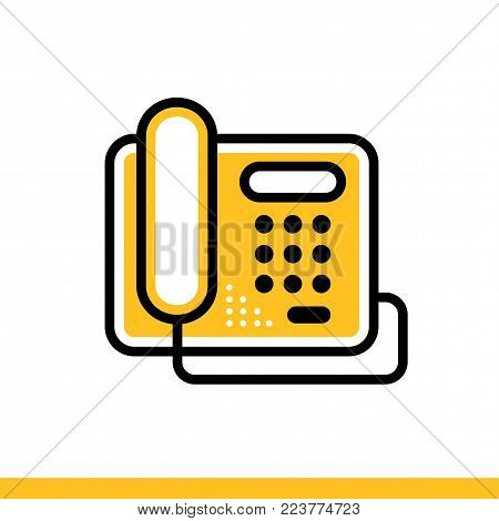 Outline icon Stationary phone. Hotel services. Suitable for print, website and presentation
