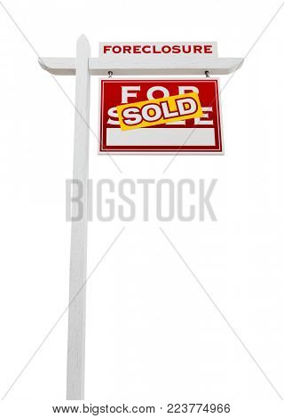Right Facing Foreclosure Sold For Sale Real Estate Sign Isolated on White.