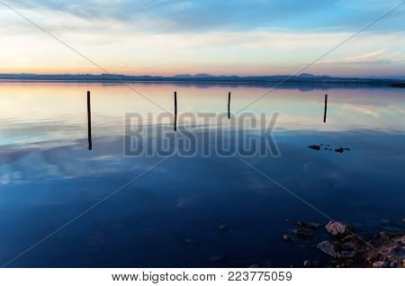 Sunset over lake salinas of Torrevieja, Spain