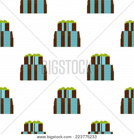 Iguassu Falls pattern seamless background in flat style repeat vector illustration