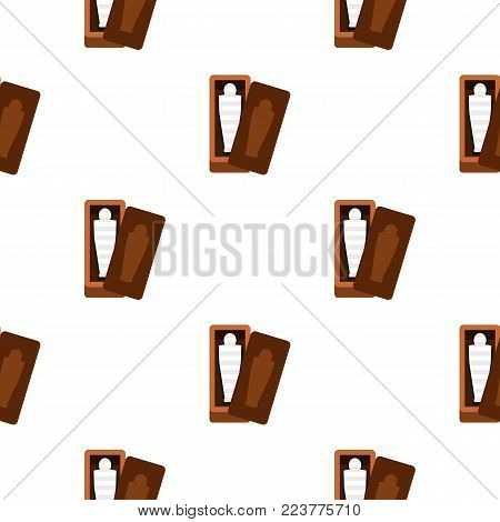 Sarcophagus of an Egyptian mummy pattern seamless background in flat style repeat vector illustration