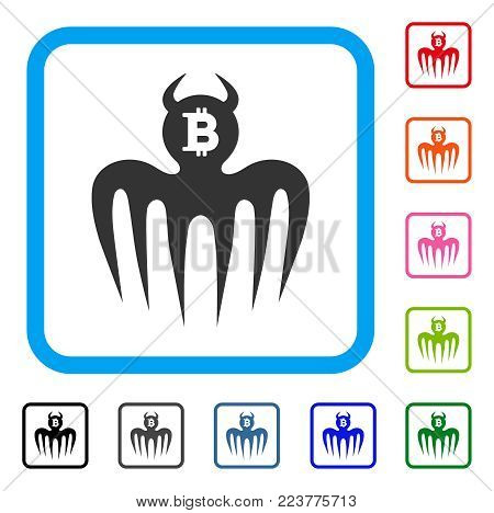 Bitcoin Spectre Devil icon. Flat gray iconic symbol inside a blue rounded rectangular frame. Black, grey, green, blue, red, orange color versions of bitcoin spectre devil vector.