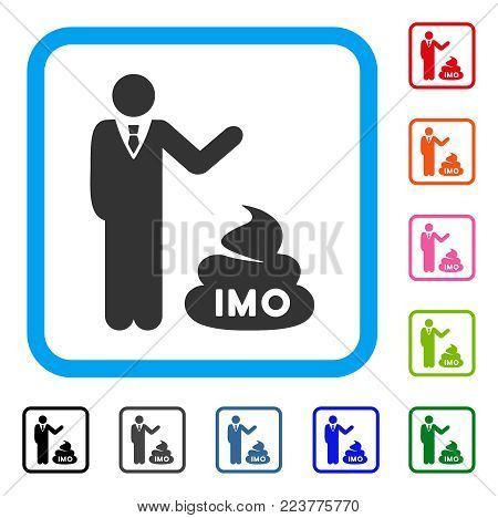 Businessman Show Imo Shit icon. Flat gray iconic symbol inside a blue rounded squared frame. Black, grey, green, blue, red, pink color versions of businessman show IMO shit vector.