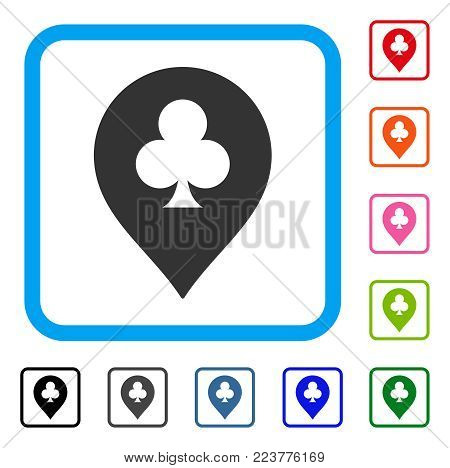 Clubs Casino Pointer icon. Flat grey iconic symbol in a blue rounded rectangular frame. Black, gray, green, blue, red, pink color versions of clubs casino pointer vector.