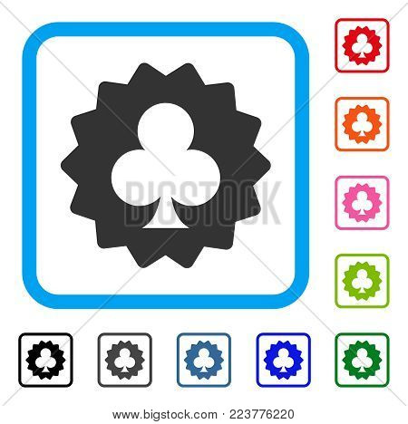 Clubs Token icon. Flat gray iconic symbol in a blue rounded rectangle. Black, gray, green, blue, red, pink color additional versions of clubs token vector. Designed for web and software UI.