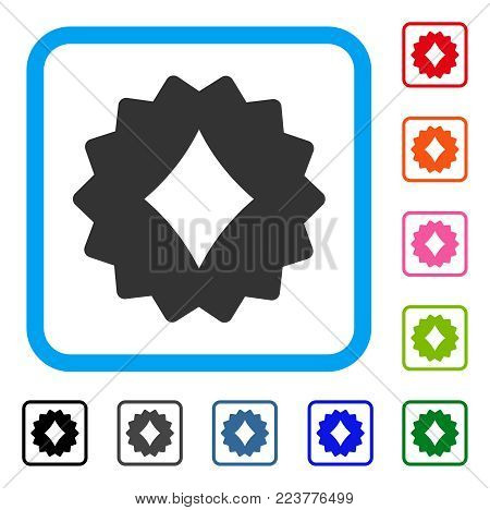 Diamonds Token icon. Flat gray pictogram symbol inside a blue rounded squared frame. Black, gray, green, blue, red, orange color versions of diamonds token vector.