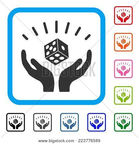 Dice Win Hands icon. Flat gray iconic symbol in a blue rounded rectangular frame. Black, grey, green, blue, red, pink color versions of dice win hands vector. Designed for web and app interfaces.