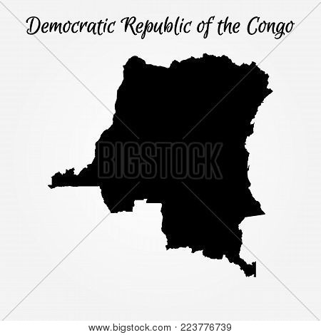 Map Of Democratic Republic Of The Congo. Vector Illustration. World Map