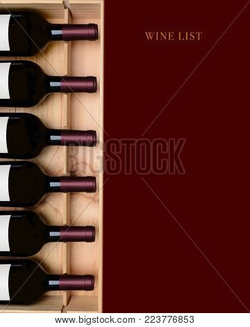 Red Wine List: A crate of wine bottles with a deep red area left blank for your copy.