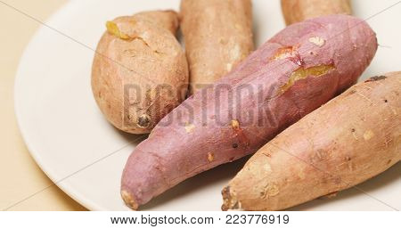 Cooked sweet potato on the plate