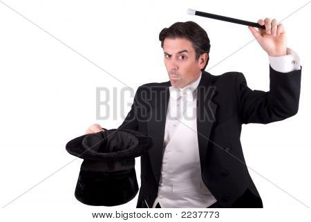 Magician Holding A Magic Wand