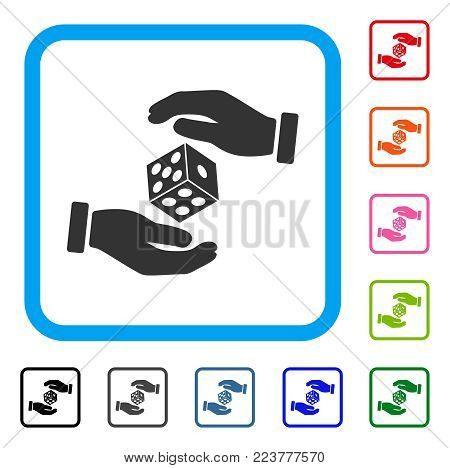 Hands Throw Dice icon. Flat gray iconic symbol inside a blue rounded frame. Black, gray, green, blue, red, orange color versions of hands throw dice vector. Designed for web and software interfaces.