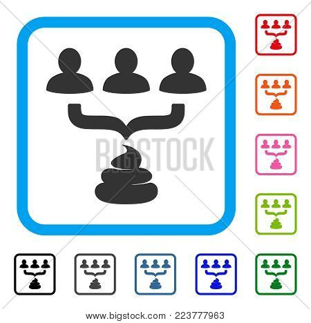 Human Shit Aggregator Funnel icon. Flat grey pictogram symbol in a blue rounded rectangle. Black, grey, green, blue, red, orange color variants of human shit aggregator funnel vector.