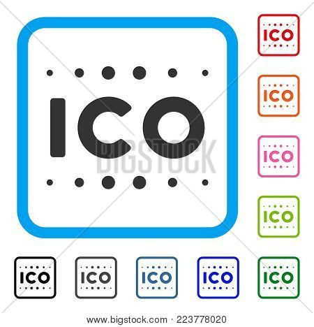 Ico Caption icon. Flat gray pictogram symbol inside a blue rounded square. Black, gray, green, blue, red, pink color additional versions of ico caption vector. Designed for web and application UI.