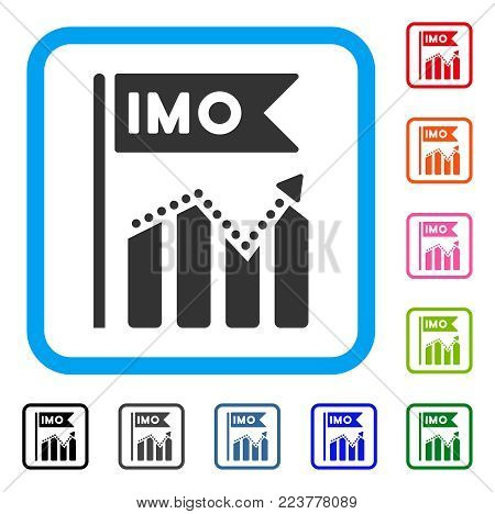 Imo Chart Trend icon. Flat gray iconic symbol in a blue rounded rectangle. Black, grey, green, blue, red, orange color variants of imo chart trend vector. Designed for web and software interfaces.