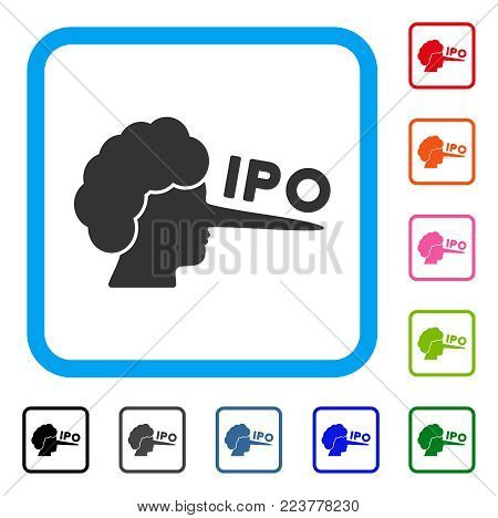 Ipo Lier icon. Flat gray pictogram symbol in a blue rounded rectangular frame. Black, grey, green, blue, red, orange color versions of IPO lier vector. Designed for web and app user interface.