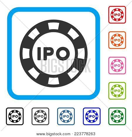 Ipo Token icon. Flat gray iconic symbol in a blue rounded rectangular frame. Black, gray, green, blue, red, pink color versions of ipo token vector. Designed for web and application UI.