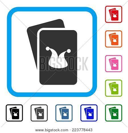 Joker Gaming Cards icon. Flat grey pictogram symbol inside a blue rounded rectangular frame. Black, grey, green, blue, red, orange color versions of joker gaming cards vector.