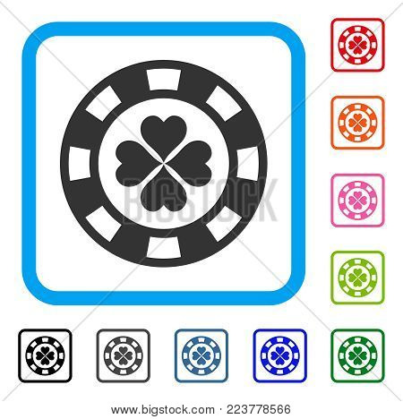 Lucky Casino Chip icon. Flat gray iconic symbol inside a blue rounded frame. Black, grey, green, blue, red, orange color versions of lucky casino chip vector. Designed for web and app UI.