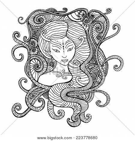 Surrealistic woman shaman, coloring page for children and adults. Vector hand drawn illustration doodle cartoon fairy tales graphic art . Mystic tribal ethnic girl coloring book.