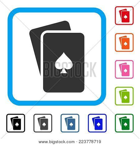 Peaks Playing Cards icon. Flat gray iconic symbol inside a blue rounded frame. Black, grey, green, blue, red, pink color variants of peaks playing cards vector.