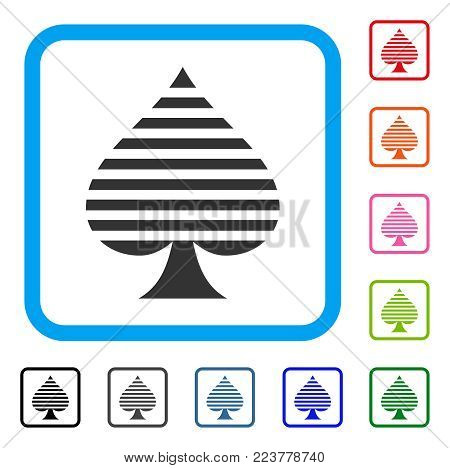 Peaks Suit icon. Flat gray pictogram symbol in a blue rounded rectangular frame. Black, grey, green, blue, red, orange color versions of peaks suit vector.