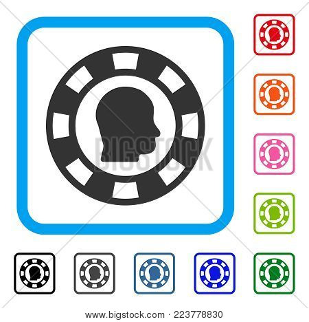 Personal Casino Chip icon. Flat grey pictogram symbol inside a blue rounded rectangle. Black, grey, green, blue, red, orange color variants of personal casino chip vector.